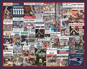 "New England Patriots 2017 & 2015 Super Bowl Newspaper Front-Page Headline Collages. (Includes a Free 20X16"", 2015 Collage Print)"
