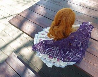 knitted violetlace dollfie shawl,MSD, BJD by szoszonka