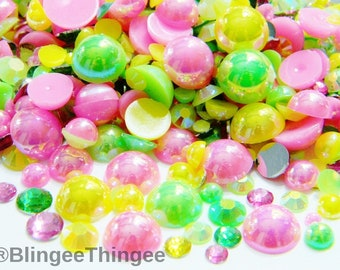 1000 Mixed Sizes Colors Pink Ab Lime Green Ab Yellow Ab Flatback Half Round Faux Pearls  Plus Flatback Resin Faceted Rhinestones G31