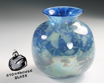 Pansy Pot. Hand blown glass vase Silver Blue with Celadon Shards_ Reduced. 217_0022