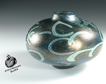 Hand blown glass vase. Disk Vase. Green Gray with Silver Blue and Celadon Green accents. Iridescent and Reduced. UFO_317_CC
