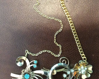 Vintage Triple Brooch Necklace
