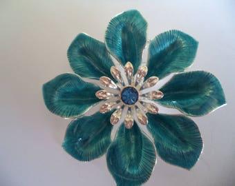Vintage Unsigned Silvertone/Blue Flower  Brooch/Pin