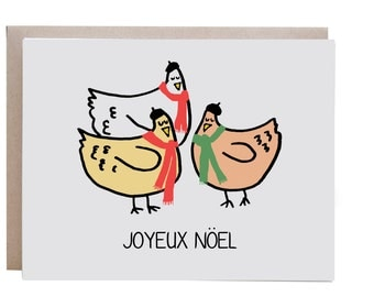 Christmas Card, Three French Hens, Chickens, Chicken Card, Farm