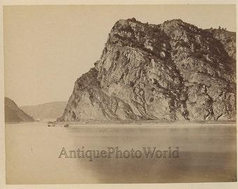 Italy island rugged coastline antique albumen photo
