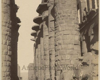 Karnak ruins people by columns antique albumen photo by Beato Egypt