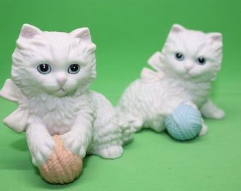 2 Bisque Kittens made by Homco - Vintage