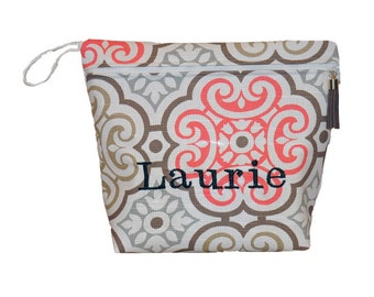 Personalized Moroccan Vinyl Lined Makeup Bag or Wet Bag with Tassel Zipper Pull