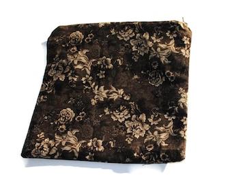 Reusable Zipper Sandwich Bag Brown Floral Flowers