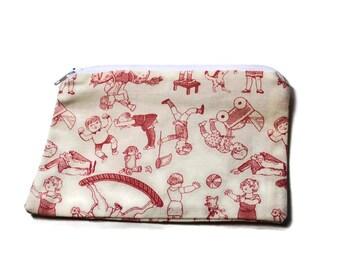 Reusable Snack Bag Zipper Beige Pink Children