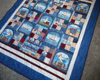 Nautical Americana Throw Quilt, Patriotic lap handmade blanket, Debbie Mumm tall ships, red white blue quilted, Schooner seagull seashore