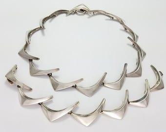 Vintage Anton Michelsen Denmark Sterling Silver Modernist Boomerang Necklace & Bracelet
