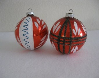 Vintage Pair of Large Red and White Glass Christmas Ornaments - Black Glitter Accent