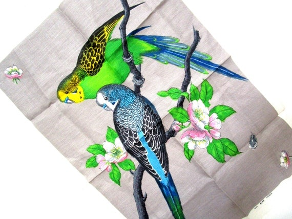 Vintage Irish Linen Tea Towel, Pair of Parakeets, Bird Irish Linen Tea Towel, Vivid Colors, Immaculate, Never Used