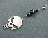 Punisher skull charm long zipper ornament for backpacks, purses, hoodies, jackets etc.