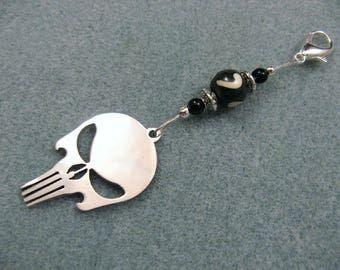 Punisher skull charm long zipper ornament for backpacks, purses, hoodies, jackets etc.