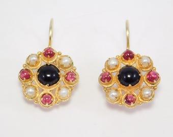Beautiful Cabochon Garnet & Cultured Pearl Vermeil Earrings