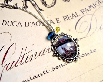 New York handmade glass cabochon long necklace, cabochon necklace, new york necklace