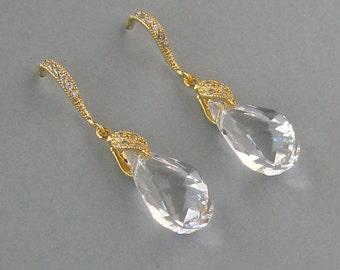 Genuine Swarovski, Bridal Earrings, Clear Swarovski Crystal,Yellow Gold Plated, Helix Drop Earrings, Bridesmaid Gift,Wedding Jewelry - DK804