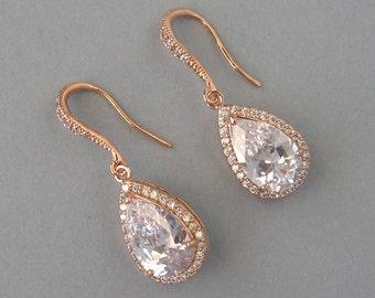 Cubic Zirconia, Rose Gold Plated Over Brass, Bridal Earrings, Bridesmaids Gift, Drop Zirconia Earrings, Rose Gold Earrings, Wedding - DK810