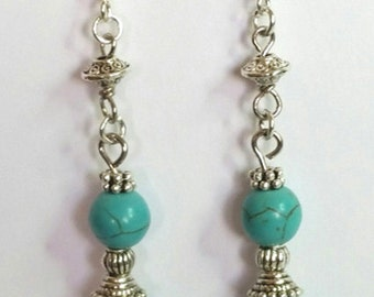 Turquoise Earrings - Dangling Earrings - Turquoise beads - Blue Turquoise - Elegant Jewelry - Gift for Mother's Day -  Handmade Jewellery