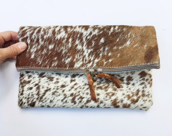 Brown & White Cowhide Fold Down Clutch