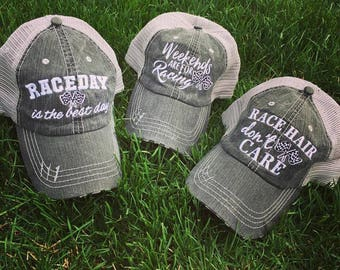 Hat { Race day is the best day. Weekends are for racing. Race hair don't care. } 4.94 US ship. 10 Worldwide ship.