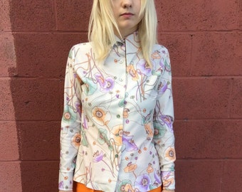 1970's long sleeve floral polyester blouse