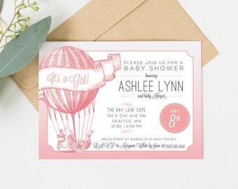 Vintage Baby Shower Invitation - Girl - Hot Air Balloon Design Printable