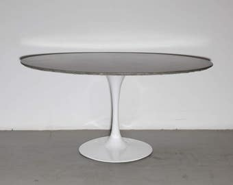 Concrete Table mid century dining table oval table for 6 tulip base contemporary mid-century modern minimalist furniture saarinen knoll like