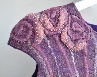 Felted tunic Felted women clothes Felted wool tunic Nuno Ready to ship Violet tunic with beads Violet tunic Wool clothes Wool clothes