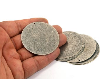 5 Pcs. Antique Silver  52 mm Round Huge Blanks 1 Hole
