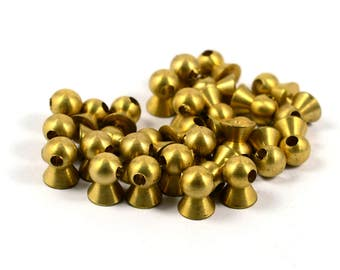 10 Pcs. Solid Brass 6( Base )  x7 mm   Spike Findings   , Hole Size: 2 mm