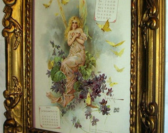 Fairy Semi Nude Goddess Nymph In Pink Sitting Bunch of Purple Violet Flower Butterflys Original 1898 Antique Heavy Ornate Gold Frame Picture