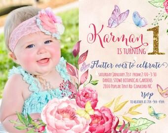 Watercolor Butterfly FLower Invitation, Butterfly Invitation, Fairy Party, Fairy Birthday Invitation, Watercolor Flowers, Gold