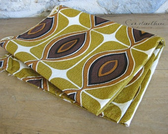 Retro barkcloth fabric with abstract mustard, chestnut and brown pattern