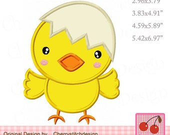 Chick with Egg Easter Machine Embroidery Applique Design