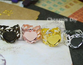 20pcs Antiqued Bronze/Gold/Silver/Rose Gold/ Metal Adjustable Ring with 12mm Heart-shaped Edge Setting