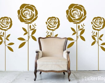 Roses 1-Color Decorative Flowers #1 Floral Wall Decals Graphic Vinyl Sticker Bedroom Living Room Wall Home Decor