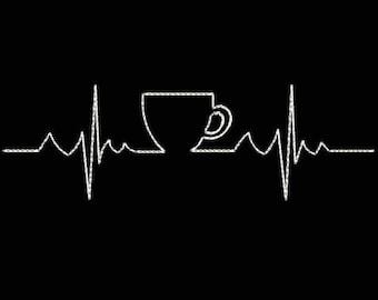 Let's Coffee Icon Machine Embroidery Designs - Applique Embroidery Design 12