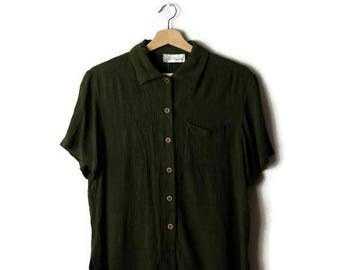Vintage Olive Green Short sleeve Slouchy Blouse from 90's*