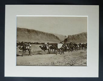 1920s Antique El Kantara Print, Biskra Province Decor, Available Framed, Algeria Art, Algerian Picture, Sepia Photography, Gorge Wall Art
