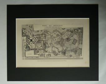 1870s Antique French Map of Parc Monceau, Historic Paris Decor, Available Framed France Art Louis Philippe II Duke of Orléans PrimrosePrints