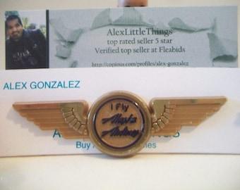 Vintage I Fly Alaska Airlines Flight Attendant Stewardess Junior Pilot Uniform Wings