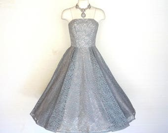 50s Prom Dress Vtg Blue Gray Floral Lace Party Gown New Look XXS Free Domestic and Discounted International Shipping