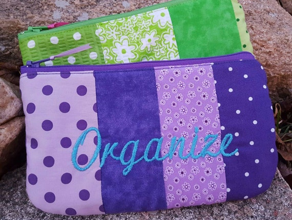 Personalized Cosmetic Bag, Patchwork Budget Organizer, Monogrammed  Makeup Bag, Cash Organizer, Bridesmaid gift