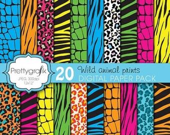 80% OFF SALE wild animal print digital paper, commercial use, scrapbook papers, background zebra, tiger, leopard, crocodile - PS621