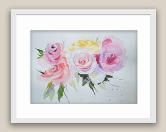 Watercolor Roses Paper Floral Art Collectibles Original Abstract