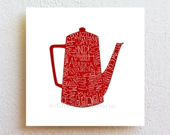 Kitchen wall decor Coffee Pot - Beans, illustration typography art print, wall art poster for coffee lovers gift , cafe decor, custom color