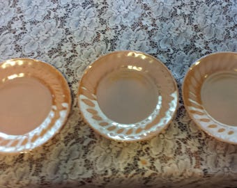 Anchor Hocking Shell Peach Luster Luncheon Plates - Set of 3